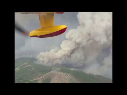 Full Destruction from Portugal Wildfire Seen from Firefighting Plane in Sky