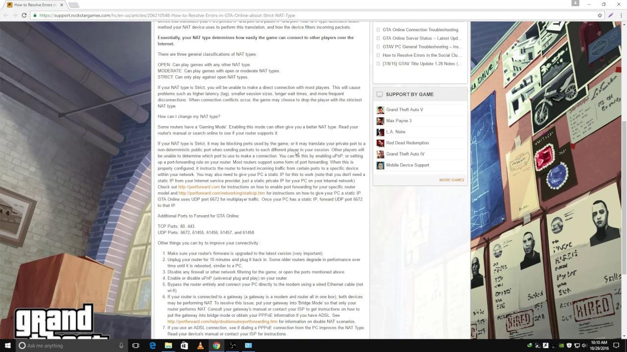 GTA V Online Nat Type Fix