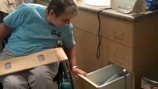 Cindy paraplegic transfer wheelchair to toilet