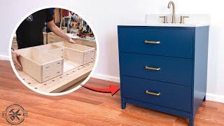 DIY Bathroom Vanity with Custom Drawers   Woodworking