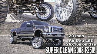 THE CLEANEST 2008 F250 EVER!!! LIFTED 20 INCHES ON 26X16S AIRBAGS DELETE AND MUCH MORE!
