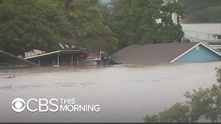 Destructive floodwaters in central Texas
