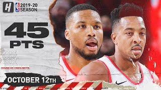 Damian Lillard & CJ McCollum Full Highlights vs Phoenix Suns (2019.10.12) - 45 Pts!
