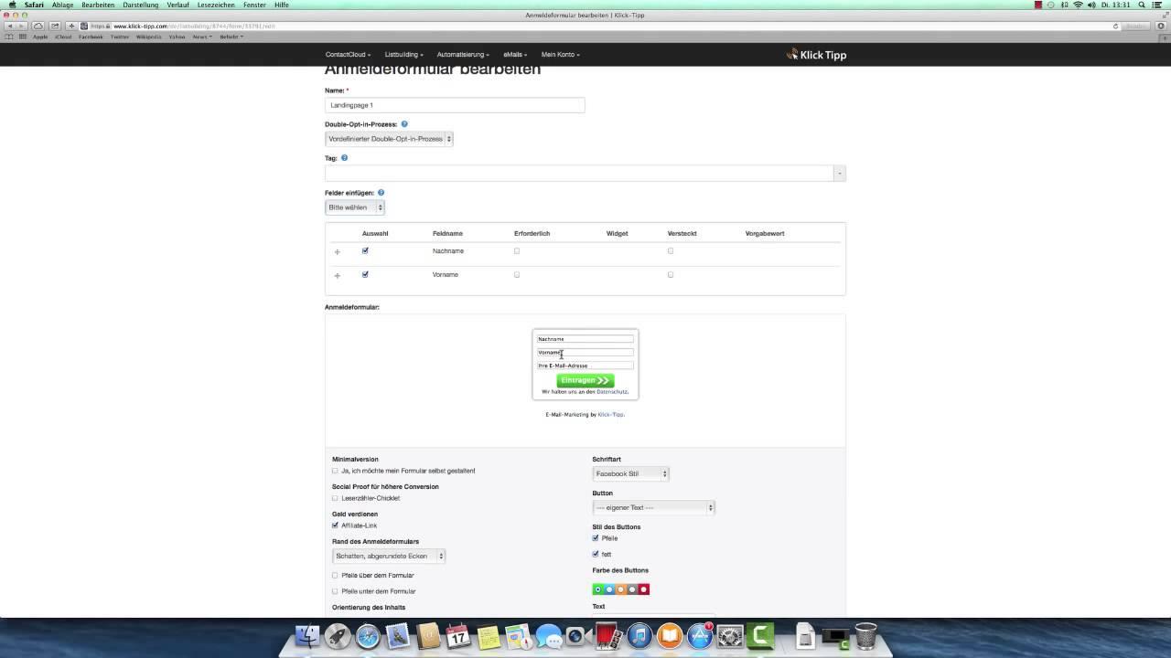 klicktipp tutorial anmeldeformular erstellen youtube. Black Bedroom Furniture Sets. Home Design Ideas