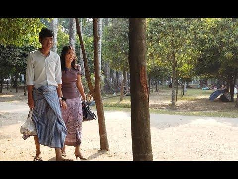 Dating Scenes of Couples in Yangon, Myanmar, Walking in a Park of Myanmar