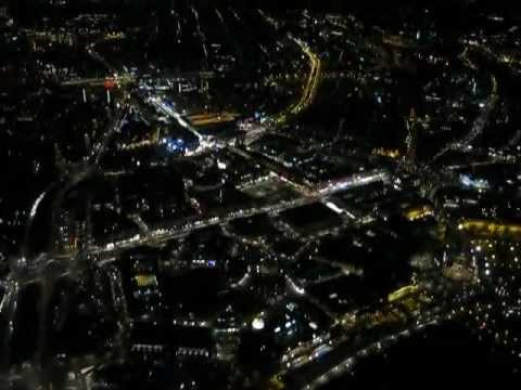 Dresden city center by night with Cessna 172 Flugschule Stahnke