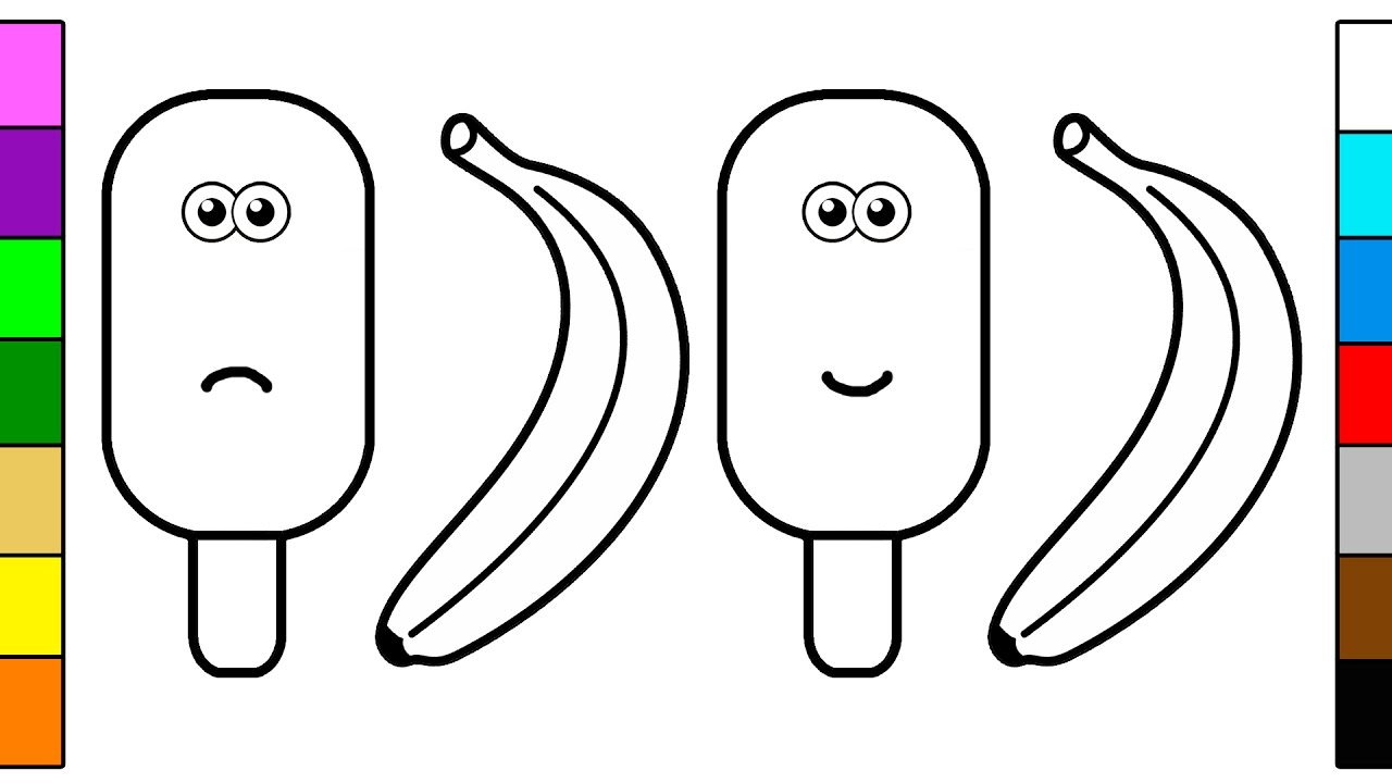 popsicle amp banana coloring page youtube