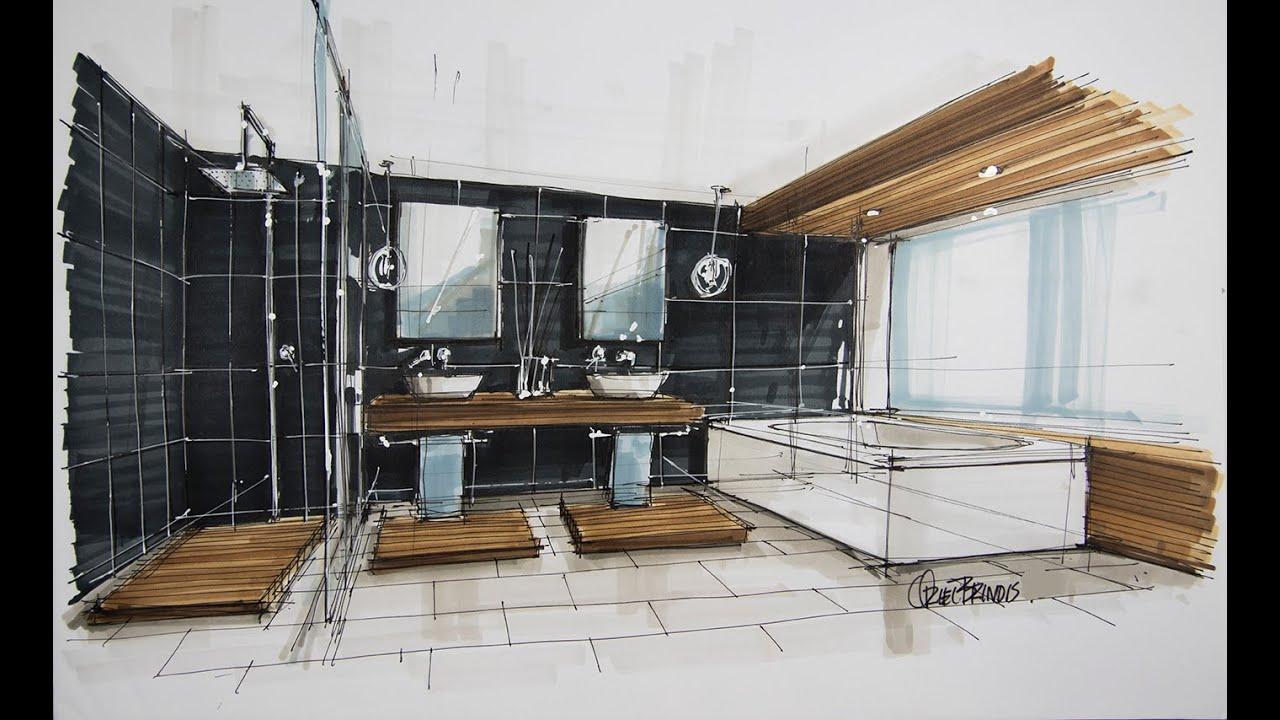 Interior Sketch Bathroom Youtube