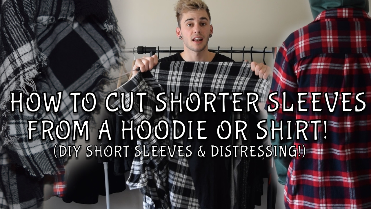 How to cut the sleeves off a hoodie shirt easiest way for How to cut sleeves off a shirt