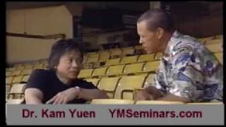 Dr Kam Yuen in Dodger Stadium with Maury Wills
