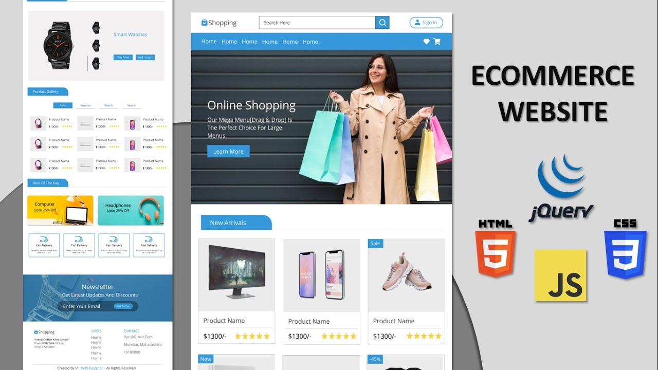 Complete Responsive E-Commerce Website Design [ HTML CSS JS ] – Step By Step