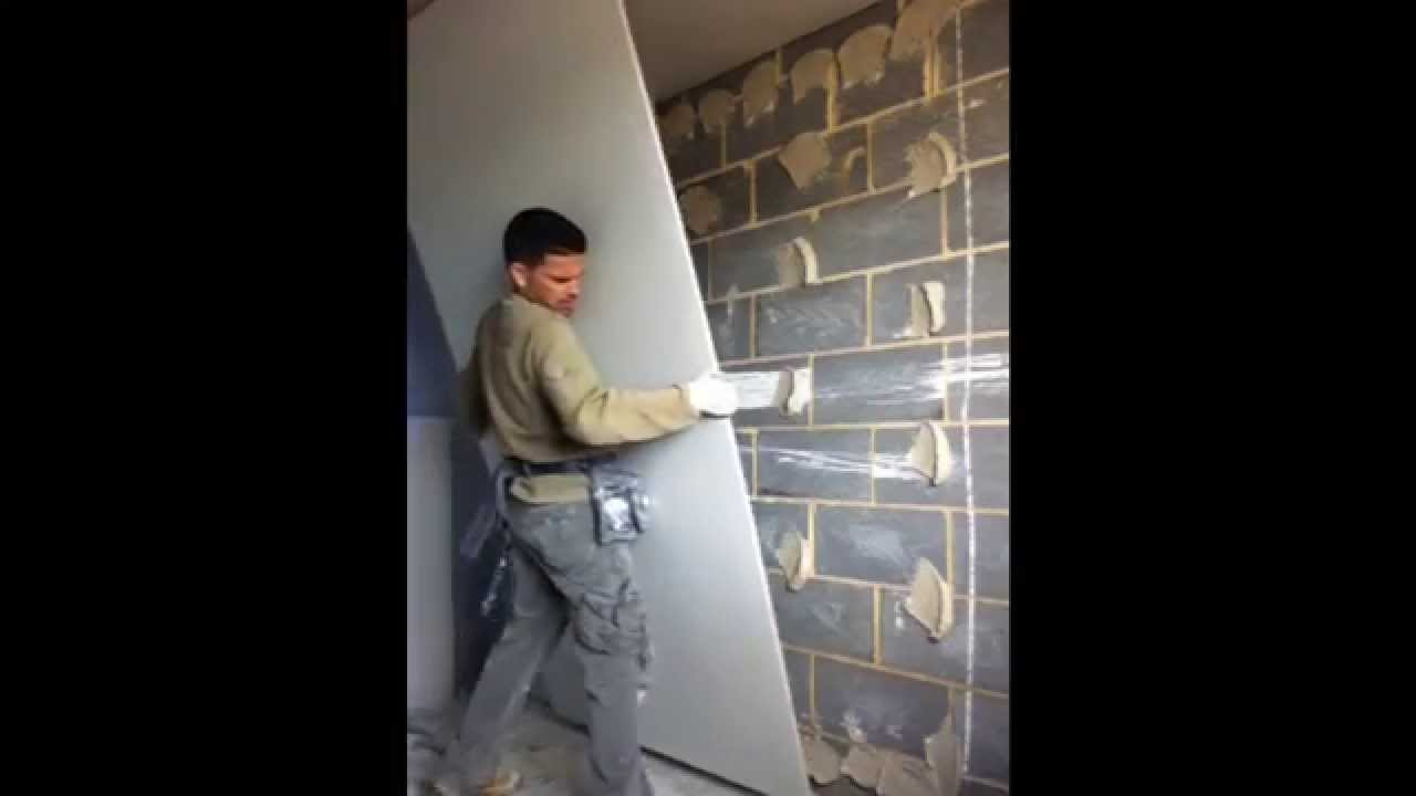 how to plasterboard dot dab dry line a wall youtube. Black Bedroom Furniture Sets. Home Design Ideas