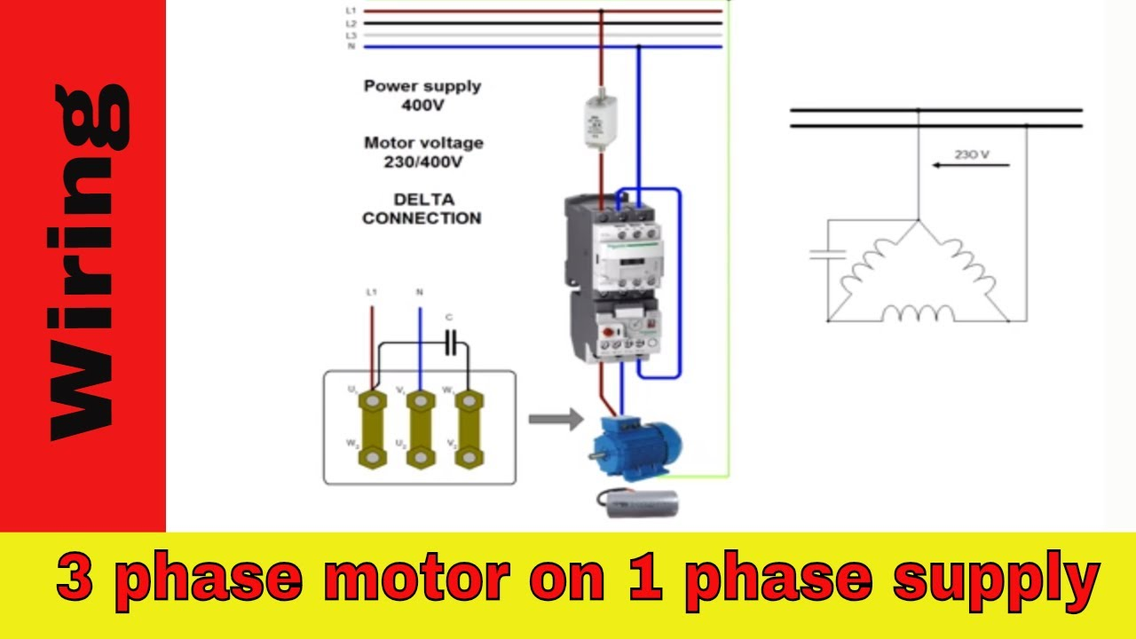 three phase motor run on single phase power supply using capacitor wiring 3 phase power to 1 phase power diagram [ 1280 x 720 Pixel ]
