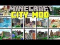 Minecraft CITY MOD l SPAWN 20 NEW INSTANT CITY BUILDINGS! l Modded Mini-Game