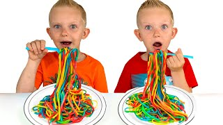Martin and Mom want the same colored noodles Play Doh pretend play