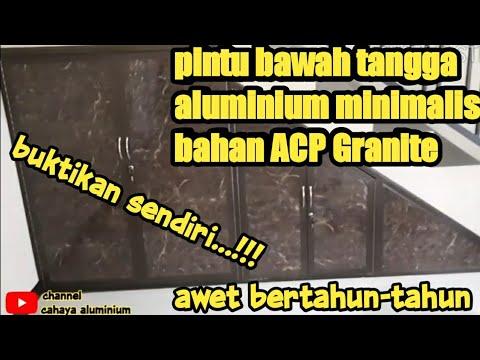 pasang pintu bawah tangga - bahan aluminium ACP - YouTube