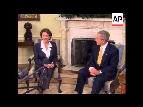 President Bush took a conciliatory step on Thursday toward Nancy Pelosi, leader-to-be of the House o