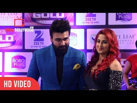 Aarya Babbar and Jasmine Puri At Zee Gold Awards 2016