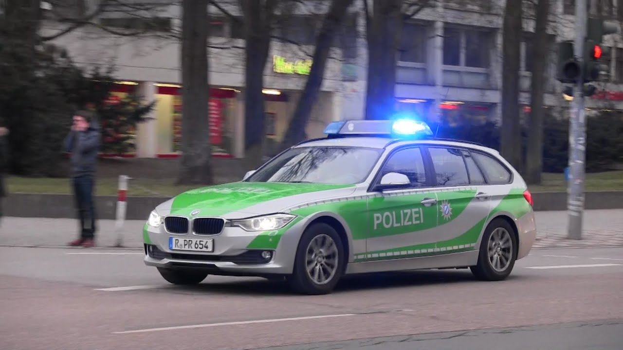 Attractive German BMW Police Car Responding