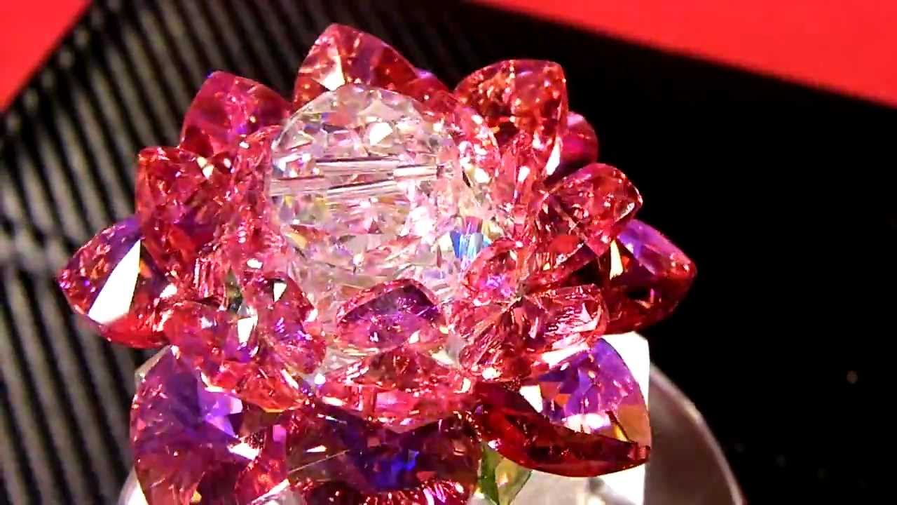 Swarovski Crystal Lotus Flower Rose Red Youtube