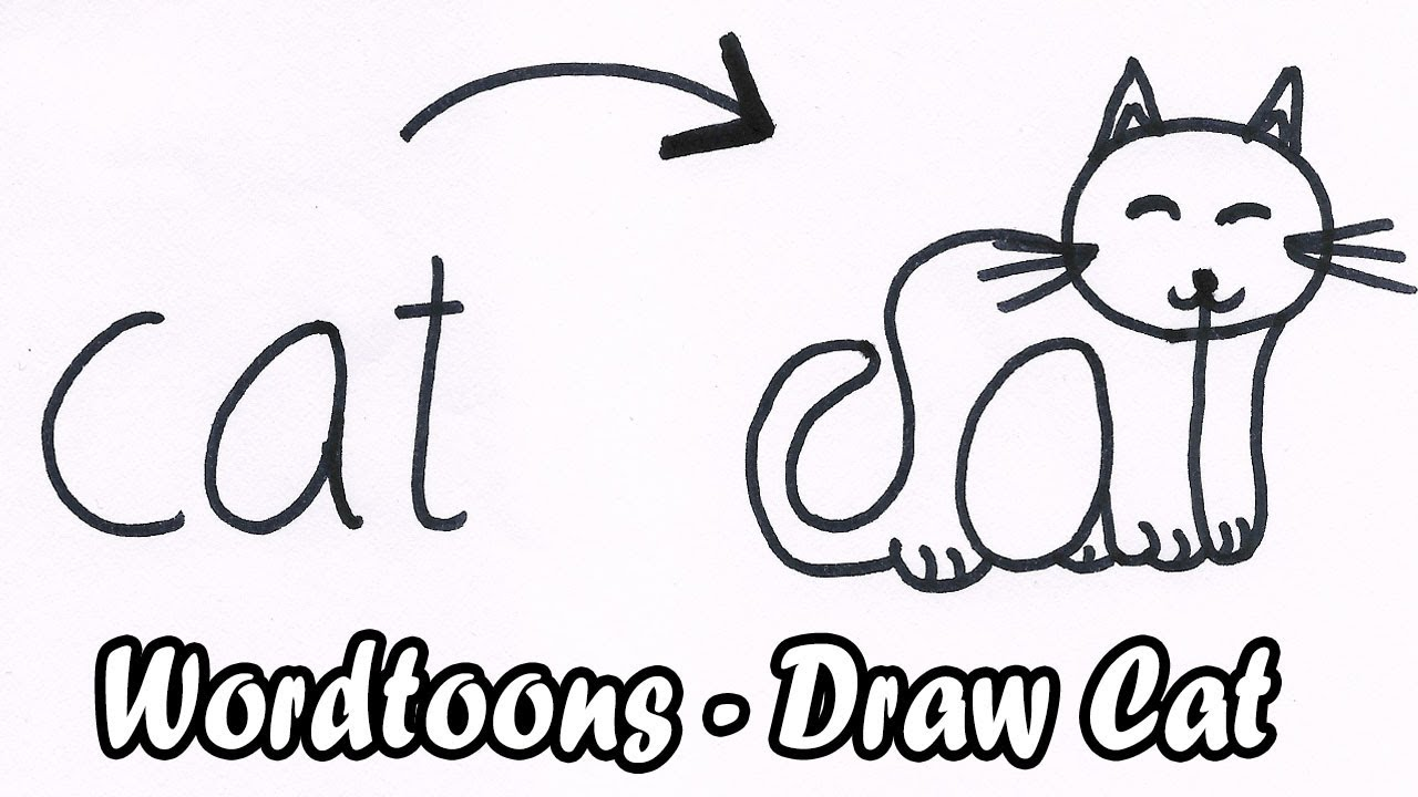 How To Turn Word Cat Into A Cartoon Cat Wordtoons Draw Cat