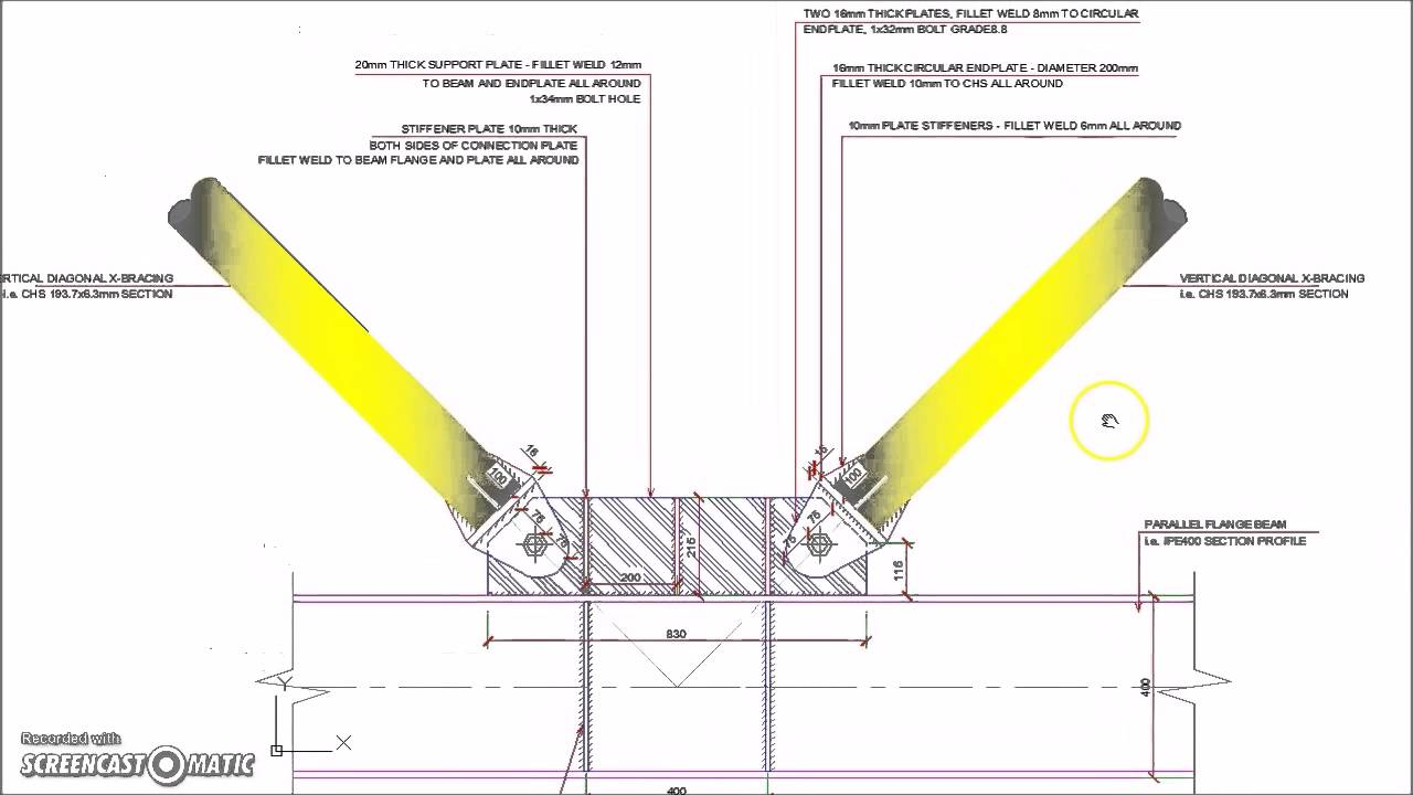 Vertical Diagonal Chs V Bracing Connection Youtube