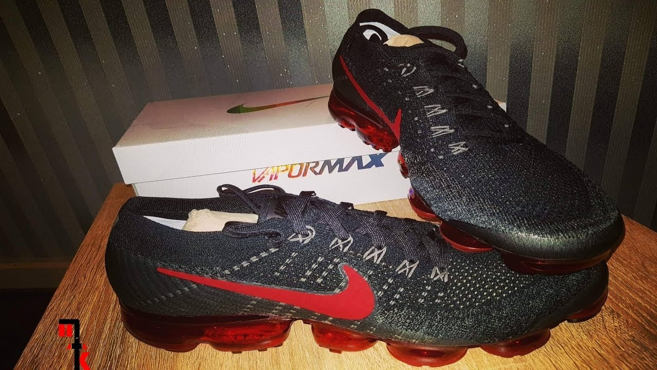 big sale 16af0 cd097 Nike Air VaporMax FlyKnit Black & Red Review 4K