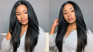 BEST KINKY STRAIGHT HAIR AFFORDABLE WIG  DUPE EVER! | SYNTHETIC WIG LACE FRONT | OUTRE NEESHA 203