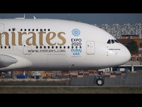 [Dubai Expo 2020] Emirates A380 landing/taxi/take-off @ Rome Fiumicino Airport