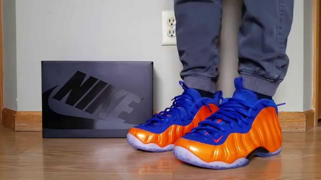 finest selection da61d b27fb NIKE AIR FOAMPOSITE ONE NY KNICKS ORANGE CRIMSON BLUE ON FEET REVIEW HEAT!  - YouTube