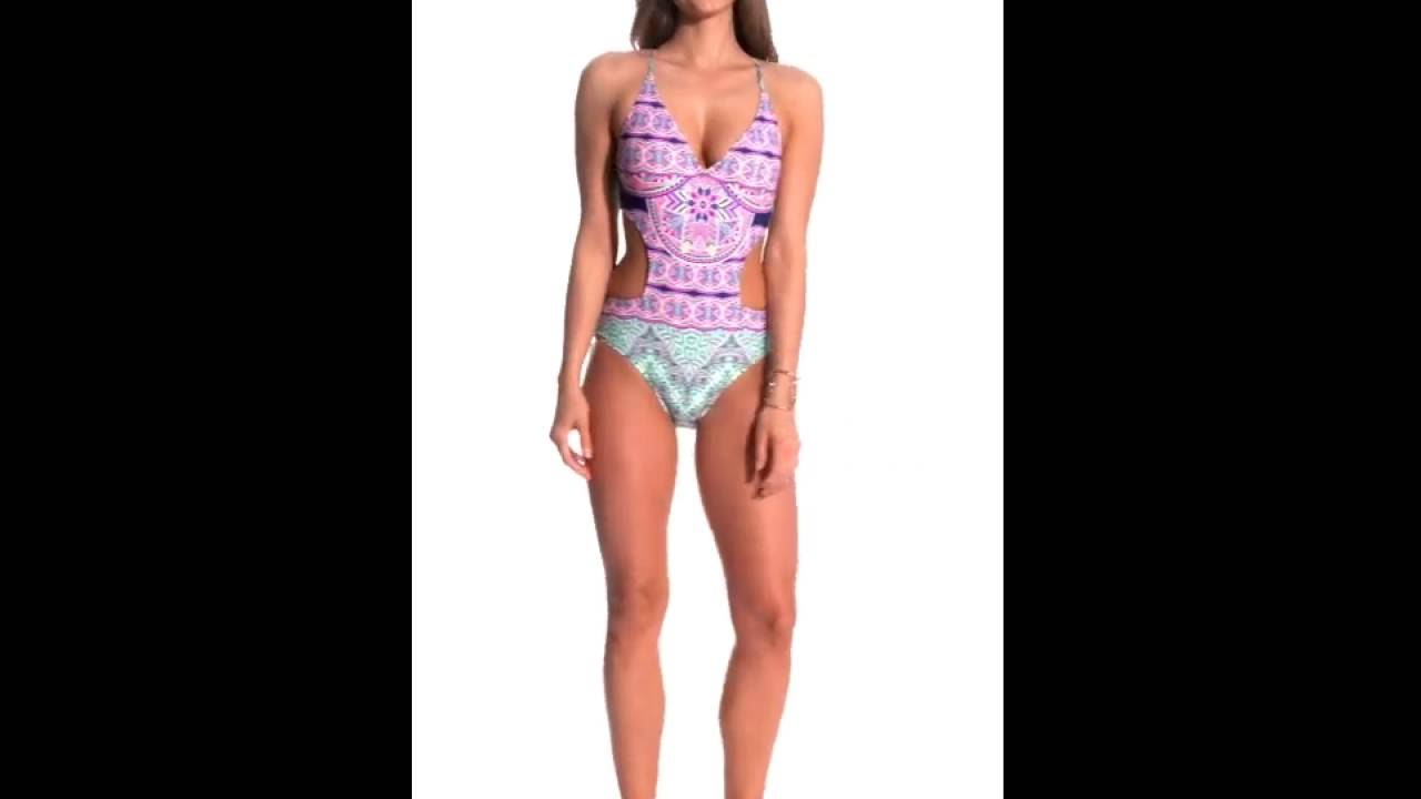 7ce86a49be58a Jessica Simpson Swimwear Mojave Cut Out One Piece Swimsuit ...
