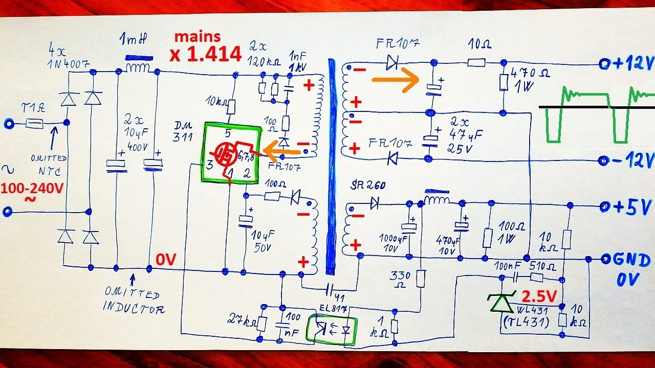 How Does A Switching Power Supply Work 1 Schematic Explanation Description This Is An Example Of Regulated 120 Vac To 12 Vdc Modifications