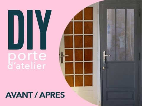 Diy une porte atelier a partir d 39 une porte vitree youtube for Porte interieur petit carreaux