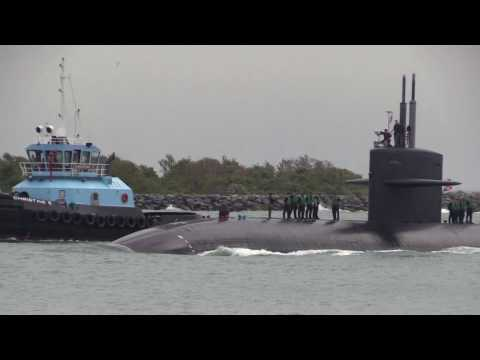 A Navy U.S. Submarine Arriving into Port Canaveral Florida. April 10th 2017
