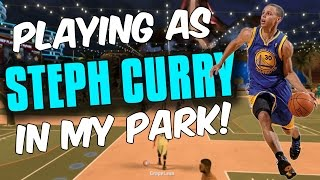 PLAYING AS STEPHEN CURRY IN MY PARK! HE DOESNT MISS A SHOT! NBA 2K17 MYPARK
