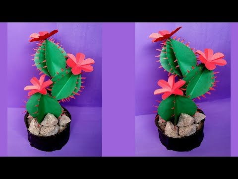DIY: Artificial Cacuts Tree!!! How to Make Paper Cactus for Room Decoration !!!