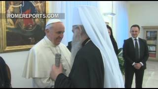 President of Macedonia gives Pope an image of Sts. Cyril and Methodius