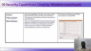 Lecture 56   Introduction to OS Security Capabilities, Linux vs Windows   Windows and Linux Security
