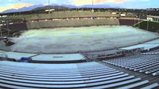 aggie memorial field turf installation time lapse