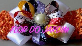 Laço com com flor de fitas fina- Ribbon Bow