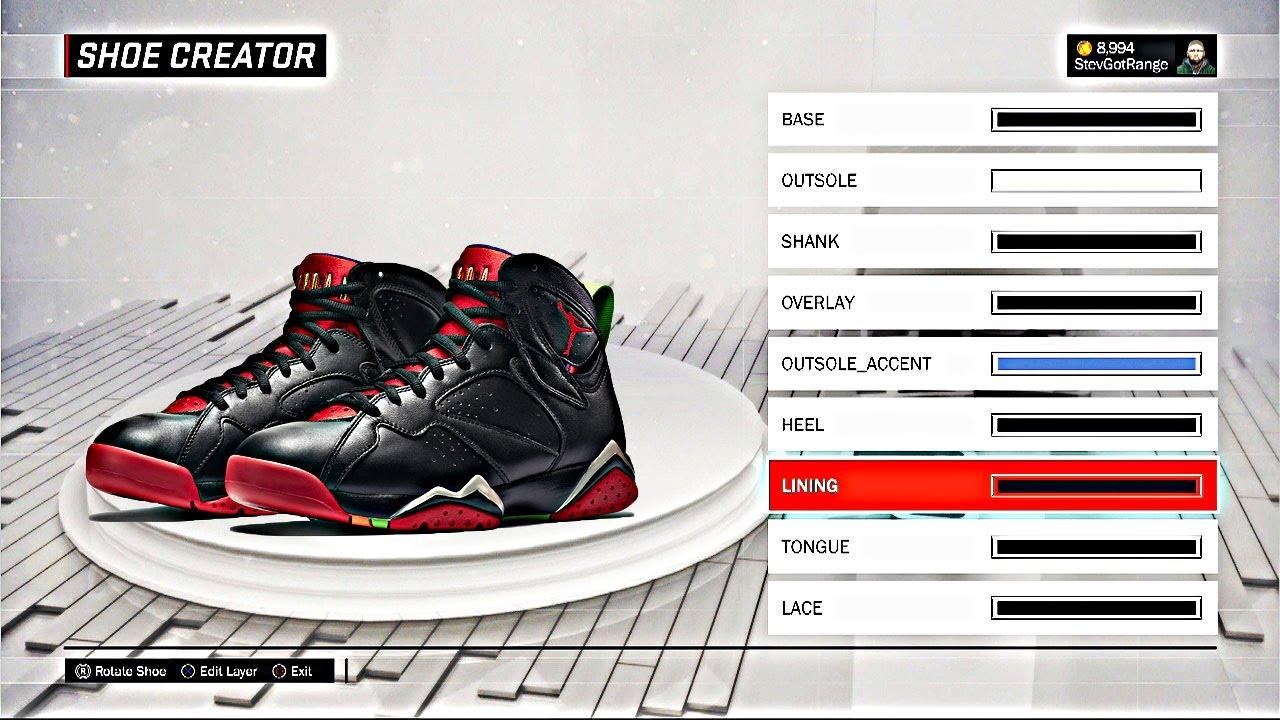 NBA 2K17 Shoe Creator | HOW TO MAKE AIR JORDAN MARVIN THE MARTIAN 7 | 2K17  Air Jordan Shoe Tutorial