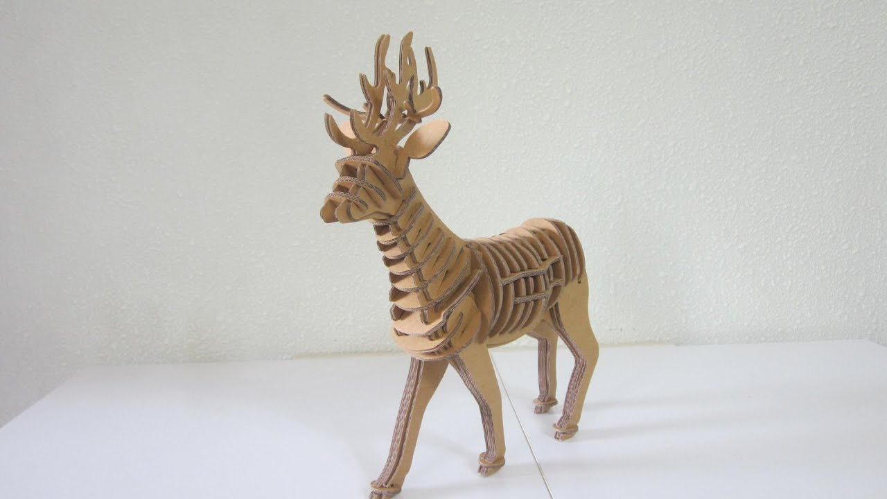 DIY KIT - Cardboard Reindeer - YouTube
