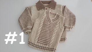 V Yaka Örgü Erkek Çocuk Süveteri (2-4 Yaş) #1