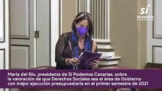 María del Río sobre la ejecución presupuestaria de la consejería de Derechos Sociales