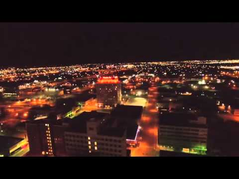 Night flight over the Santa Fe building
