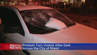 Miami's George Floyd Demonstration Gets Violent After Dark