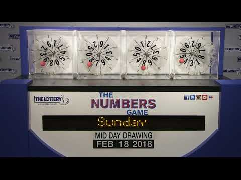Midday Numbers Game Drawing: Sunday, February 18,2018
