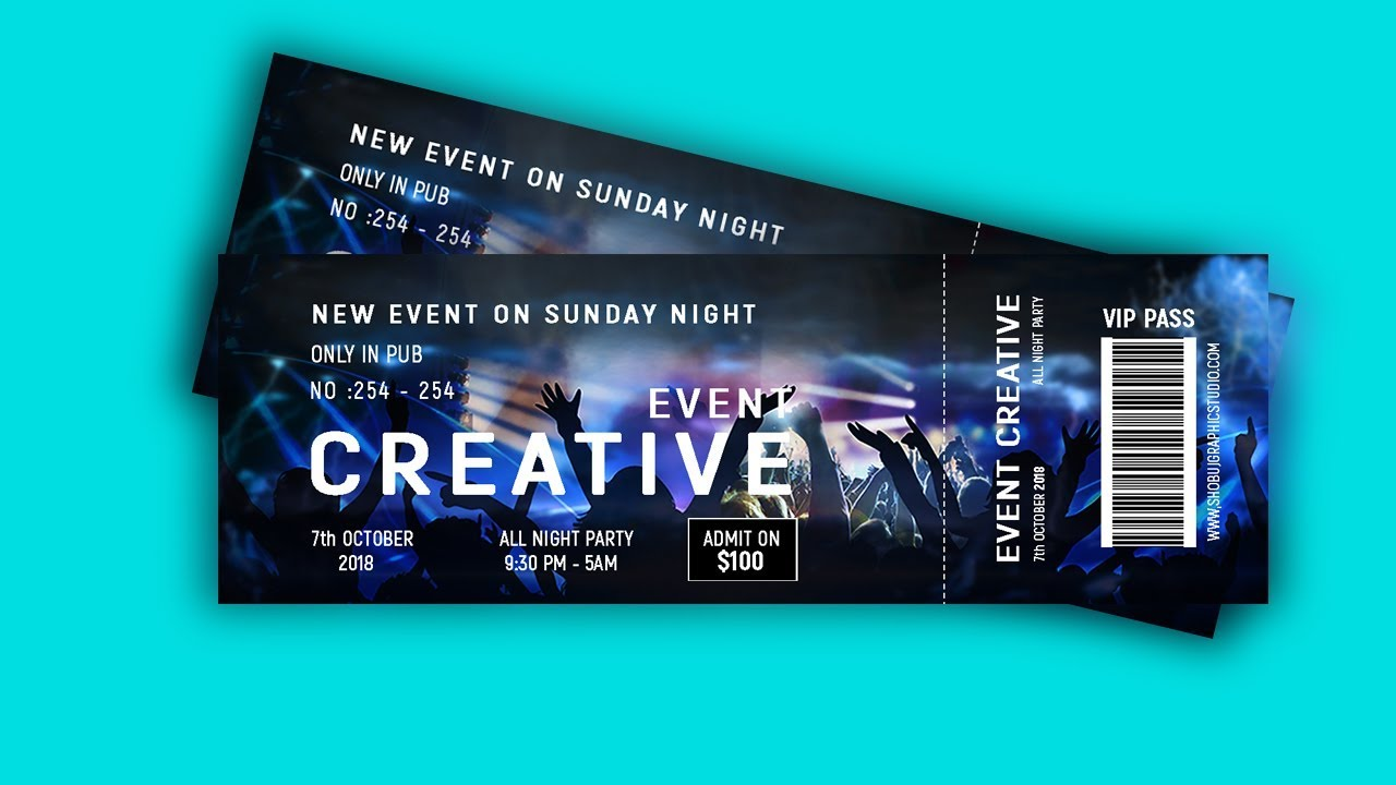 how to design event ticket in photoshop tutorial youtube
