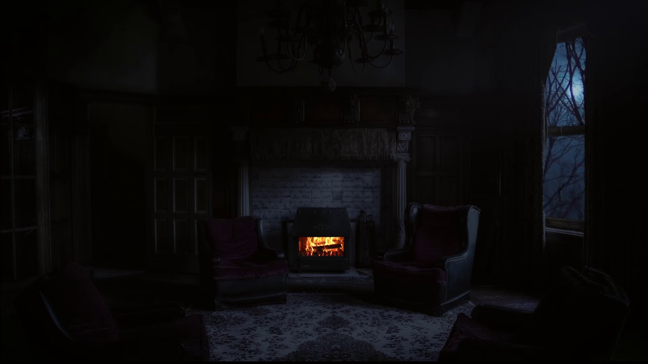 Creepy Halloween Room with Crackling Fireplace and Stormy ...