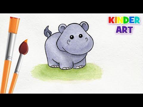 Как нарисовать бегемота карандашом